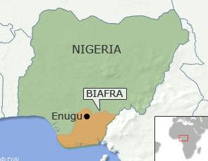 Mappa Nigeria con Focus Biafra