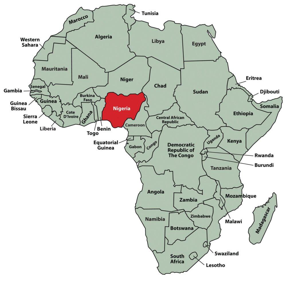 la mappa mette in evidenza la Nigeria rispetto all'Africa